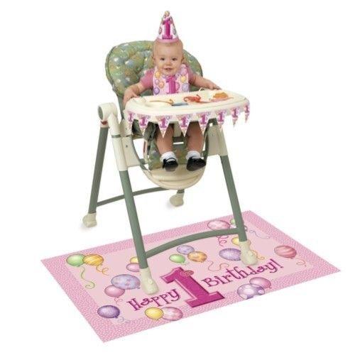 Kinderstoelversiering, 1e verjaardag, roze ballonnen