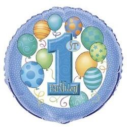 Folieballon, 1e verjaardag, blauwe ballonnen