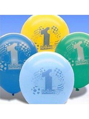 Ballonnen, 1e verjaardag, thema: blauwe ballonnen