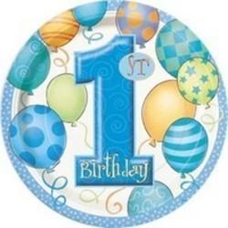 Gebaksbord, 1e verjaardag, blauwe ballonnen