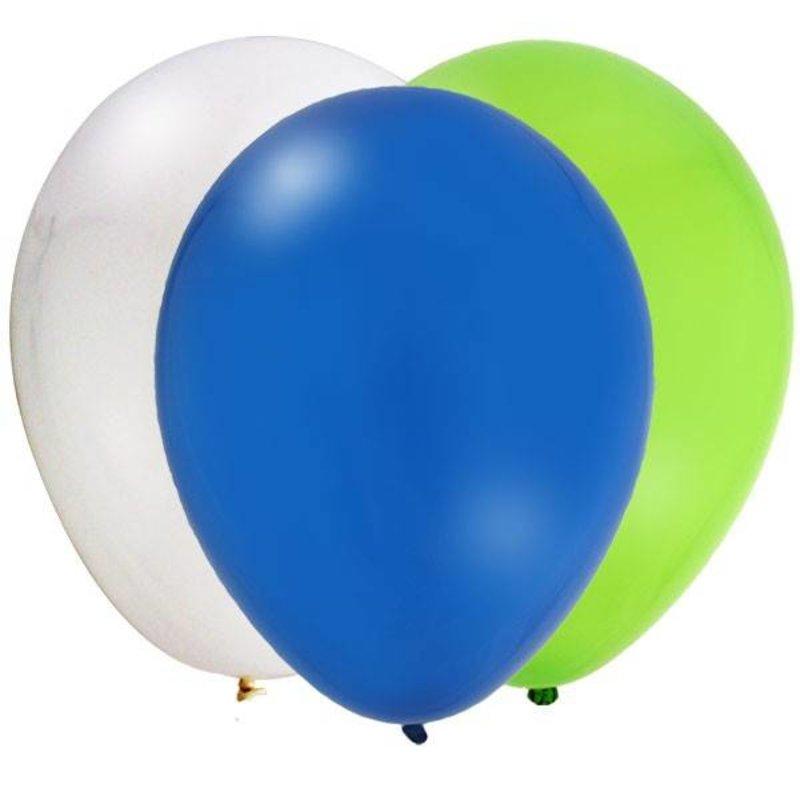 Ballonnen 30x groen, blauw en wit
