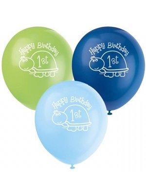 Ballonnen met afbeelding, 1e verjaardag schildpad