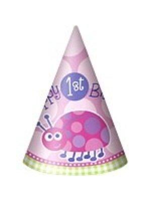 Feesthoedjes, 1e verjaardag roze lieveheersbeestje