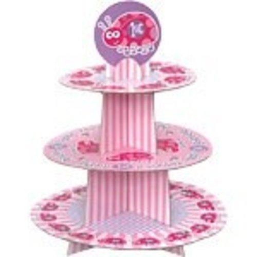 Cupcake standaard, 1e verjaardag lieveheersbeestje roze