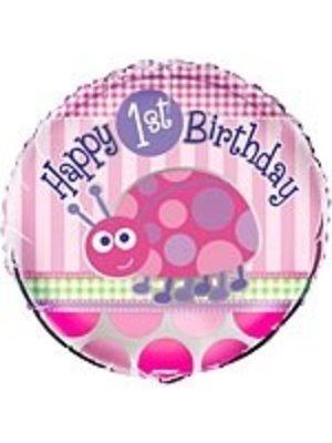 Folie ballon, 1e verjaardag lieveheersbeestje roze