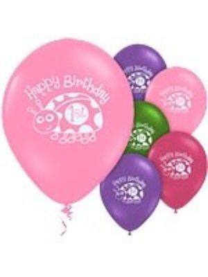 Ballonnen met afbeelding, 1e verjaardag lieveheersbeestje roze