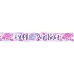 Banner folie, 1e verjaardag lieveheersbeestje roze