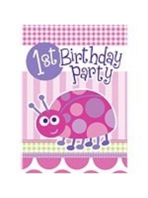 Uitnodigingen setje van 8x, 1e verjaardag roze lieveheersbeestje