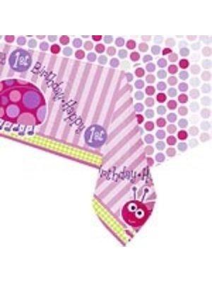 Tafelkleed, 1e verjaardag lieveheersbeestje roze