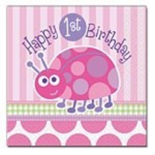 Servetten, 1e verjaardag lieveheersbeestje roze