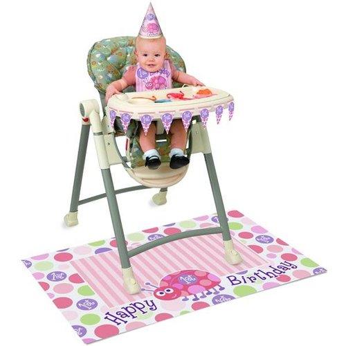 Kinderstoel versiering, 1e verjaardag roze lieveheersbeestje