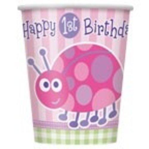 Bekers eerste verjaardag lieveheersbeestjes roze 8x