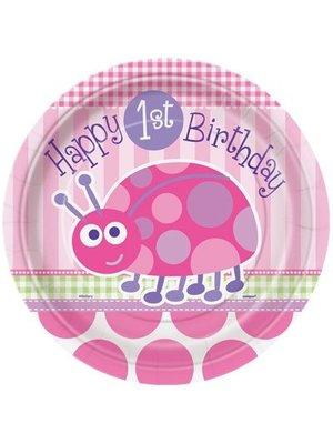 Grote borden eerste verjaardag lieveheersbeestje roze 8x