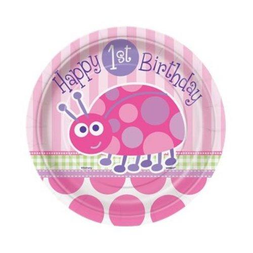 Gebaksbordjes eerste verjaardag lieveheersbeestje roze 8x