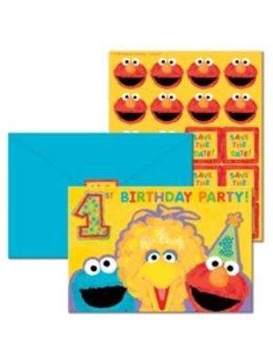 Elmo & Koekiemonster uitnodigingen 1e verjaardag, 20 stuks