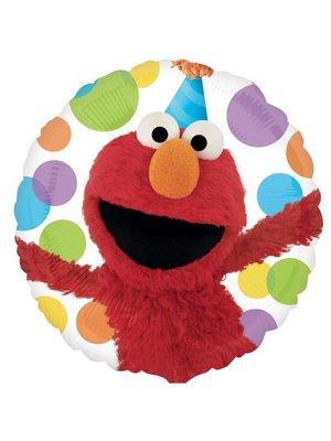 Elmo folie ballon (Elmo met feestmuts en stippen)