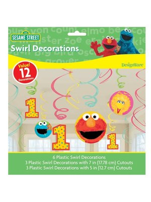 Grote hangdecoratie Elmo / koekiemonster 1 jaar (12 stuks!!)