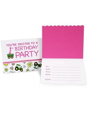John Deere 1 jaar meisje uitnodigingen