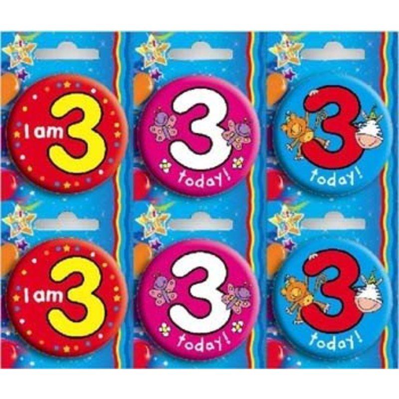 Button voor de 3e verjaardag. Per stuk