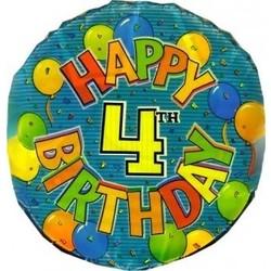 Folie ballon 4 jaar met ballonnen