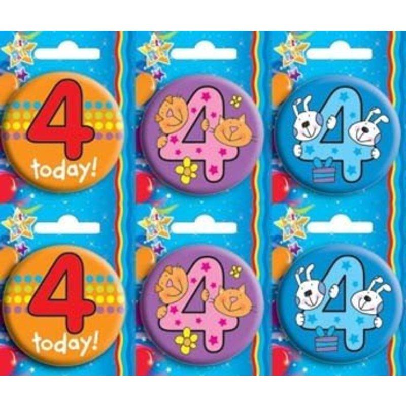 Button voor de 4e verjaardag. Per stuk