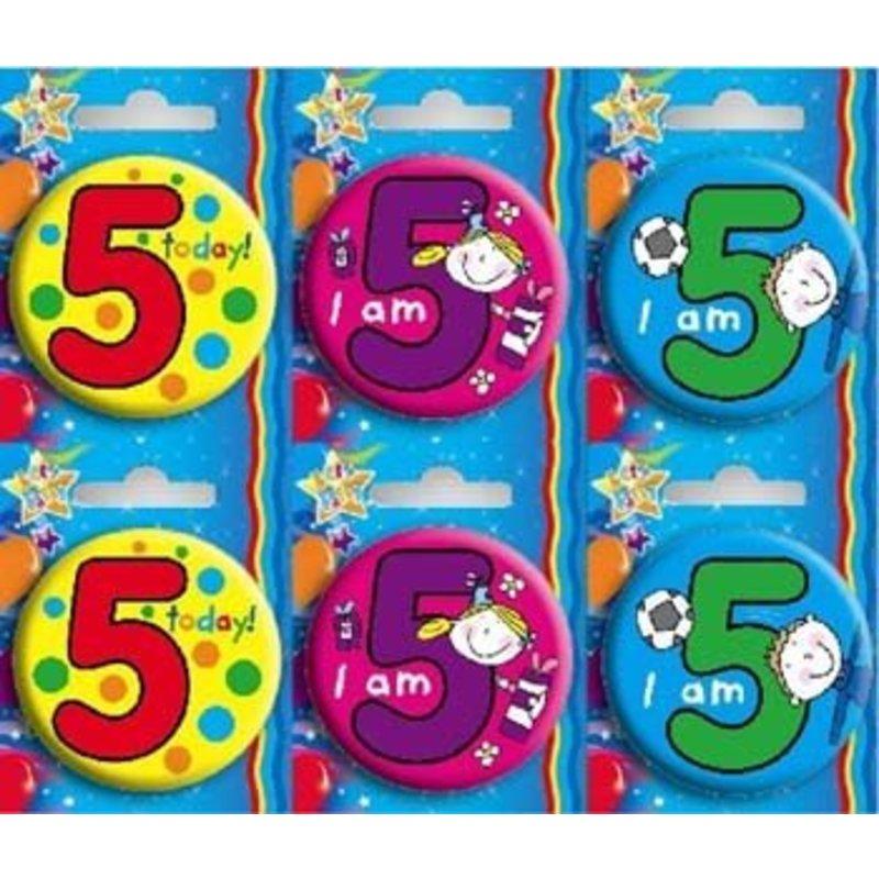 Button voor de 5e verjaardag. Per stuk