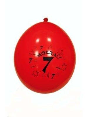 Hoera, 7 jaar. 10 vrolijke (in diverse kleuren) ballonnen.