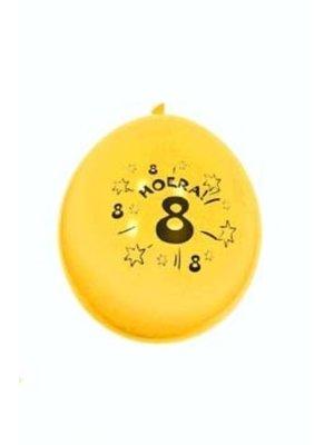 Hoera, 8 jaar. 10 vrolijke (in diverse kleuren) ballonnen.