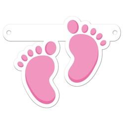 Letterslinger tussenstuk roze voetjes