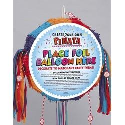 Pinata rond, felle kleuren, geschikt om een ballon op te plakken