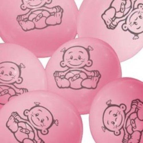 Ballonnen met afbeelding baby (roze) 6 stuks