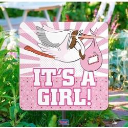 Tuinbord geboorte meisje met afbeelding van een ooievaar
