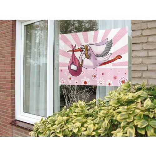 Geboorte vlag meisje, afbeelding ooievaar