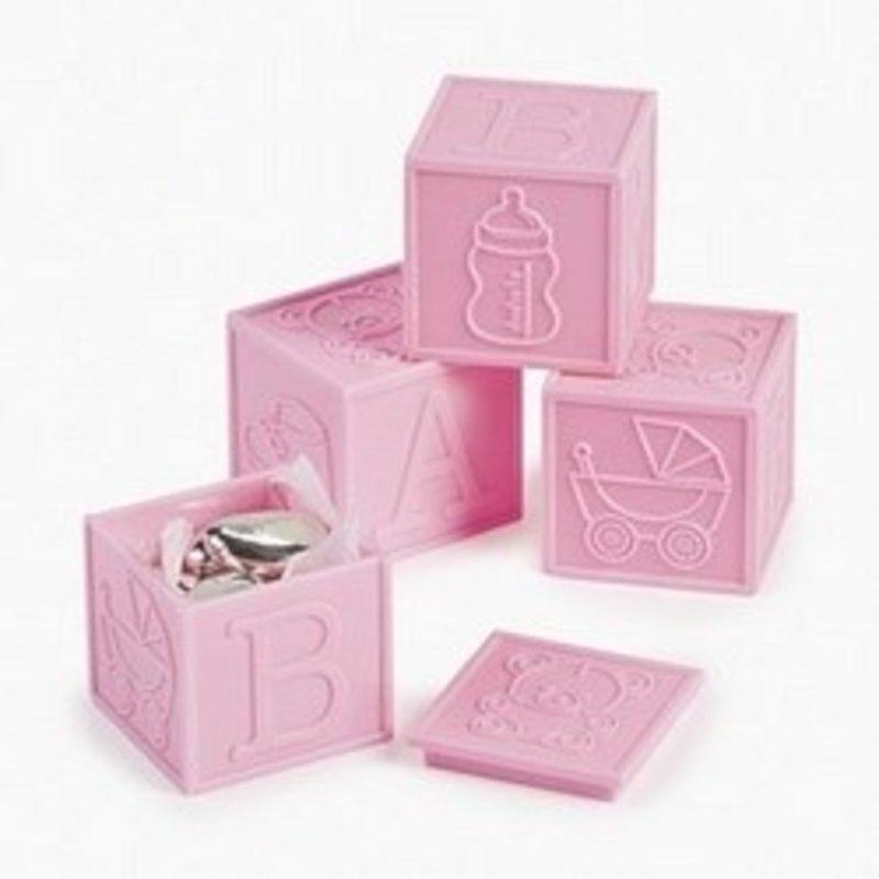 baby blokjes (roze) 4 stuks