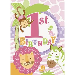 feestzakjes eerste verjaardag meisje safari
