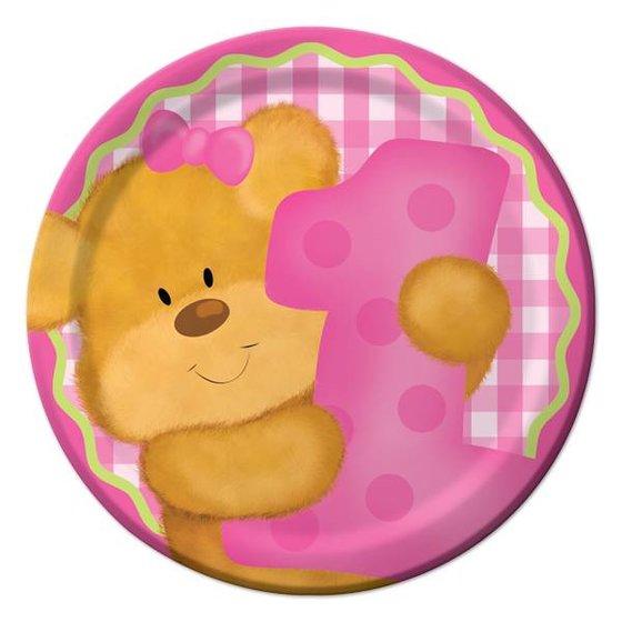 Eerste verjaardag versiering beer roze