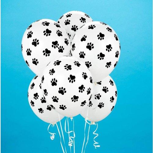 Paw Patrol ballonnen met poot afdruk wit / zwart