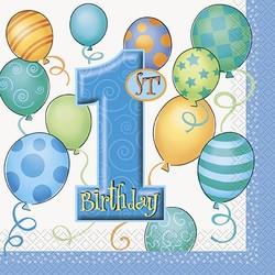 Servetten, 1e verjaardag, blauwe ballonnen