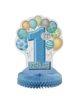 Tafel decoratie, 1e verjaardag, blauwe ballonnen, 35,5 cm