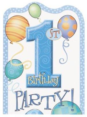 Uitnodiging, 1e verjaardag, blauwe ballonnen