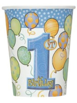 Bekers, 1e verjaardag, blauwe ballonnen