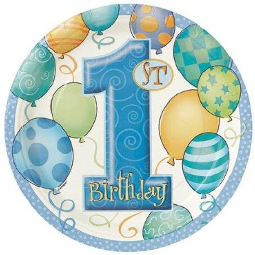 Bord (groot), 1e verjaardag, blauwe ballonnen