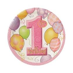 Gebaksbordjes, 1e verjaardag, roze ballonnen