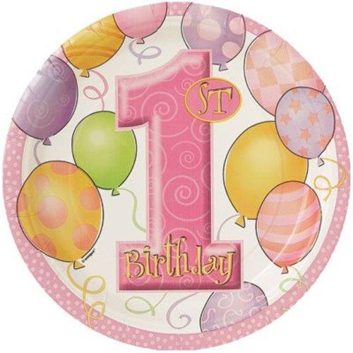 Bord (groot), 1e verjaardag, roze ballonnen