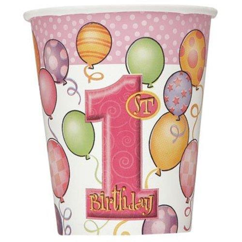 Beker, 1e verjaardag, roze ballonnen