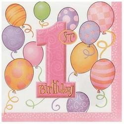 Servetten, 1e verjaardag, roze ballonnen