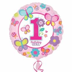 Folie ballon eerste verjaardag meisje vlinder