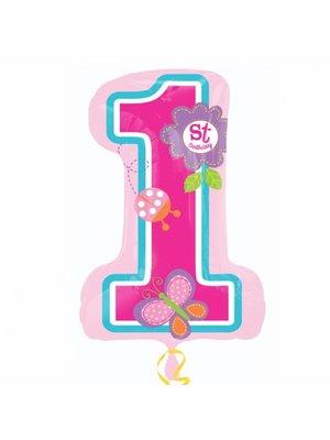 Mega grote folie ballon eerste verjaardag meisje vlinder in vorm van een 1