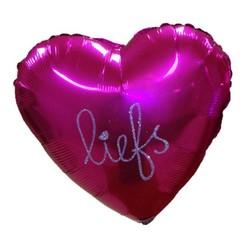 Persoonlijke folie ballon hart, ster of rond met zilveren tekst ( bijv. naam van de jarige )