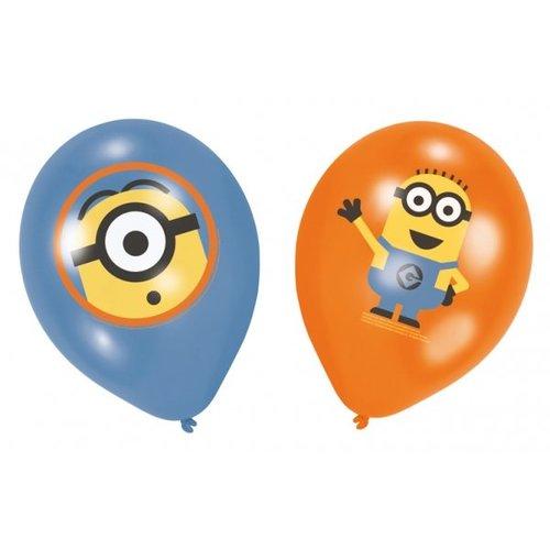 Minions / despicable Me ballonnen (oranje / blauw met gekleurde opdruk)
